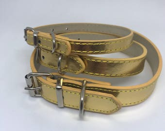 Gold Leather Dog Collar in GoldLeather for Pet Wedding Accessory Boy Dog Collar Girl Dog Save the Date Engagement Photos