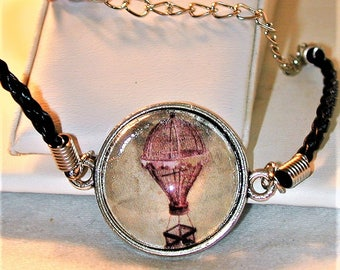Steampink Hot Air Balloon Cord Picture Bracelet