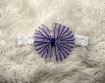 Purple Striped Hair Bow