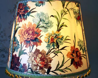 Extra Large Vintage Floral Lampshade with Pompom trim edging