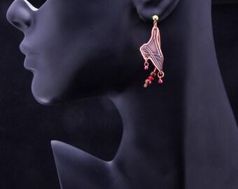Copper Earrings with Red Beads, Contemporary, Dangle Earrings, Bohemian Earrings, Boho, Exotic, Artisan, Handmade, Elvin Knot Earrings