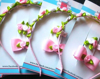 English rose pink floral headband set