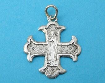 French, Antique Religious Sterling Pendant. Saint Virgin Mary. Bernadette Soubirous Lourdes. Cross. Silver Medal. 170617 4 J