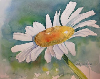 Original Watercolor Painting Daisy