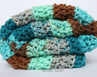 Crochet Baby Blanket | Baby Boy Blanket | Chunky Blanket | Baby Shower Gift | Crochet Blanket | Blue Blanket | Bedding | Blue Brown Green