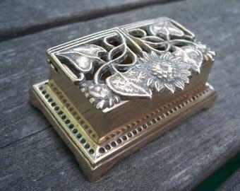 vintage brass stamp roll holder || sunflower decor || brass decor || stamp dispenser || desk accessories || desk accessories