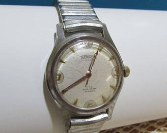Technos Men's Watch ~17 Jewels ~Wind Up Mechanical Movements ~Swiss Made ~Water Proof Incabloc ~Stainless Steel ~Retro Jewelry~FREE Shipping