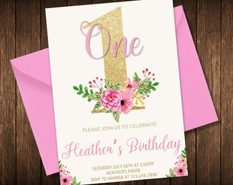 Floral 1st Birthday Invitation, Girl Birthday Invitation, One Birthday Invitation, First Birthday, Printable, Digital, Pink gold birthday