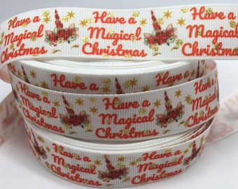 """3 yards 7/8"""" Magical Christmas grosgrain ribbon"""