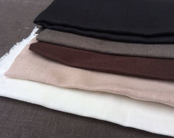 Brown linen fabric remnants, solid plain medium weight pure linen, European flax for sewing, textile art and craft projects
