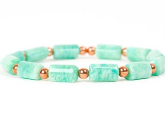 Amazonite Bracelet, Copper Bracelet, Gemstone Stretch Bracelet, Gemstone Bracelet, Handmade Jewelry, Gemstone Jewelry