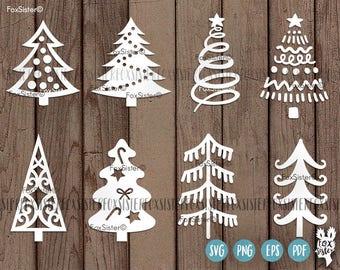 Christmas trees svg Bundle SET 1! | 8 svg cut files | Christmas tree cut file svg | New Year svg | Silhouette | vinyl decal Winter | Cricut