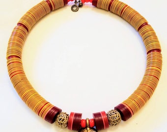 African beaded necklace with African bronze mask