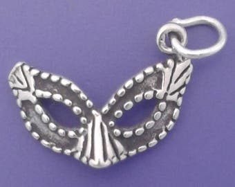 PARTY MASK Charm .925 Sterling Silver Mardi Gras, Masquerade Pendant - lp4295