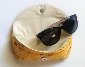 Yellow Tribal Fabric Sunglasses Case, Eyeglasses Pouch, Sunnies Case, Gift