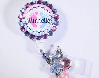 Labor and Delivery Nurse Name Badge ID BLING Badge Reel with charm