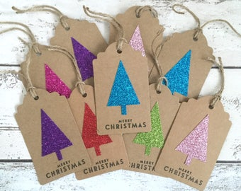 12 Large Handmade Glitter Christmas Tree Gift Tags/Note tags for Presents