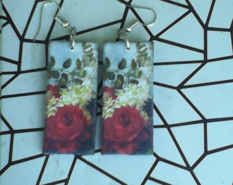 Earrings made of recycled paper. Red Symphony