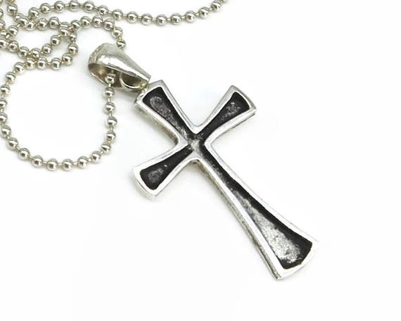 Sterling silver cross on ball chain, simple cross with flared edges, recessed and oxidised on one side, longer chain, unisex, 13 grams