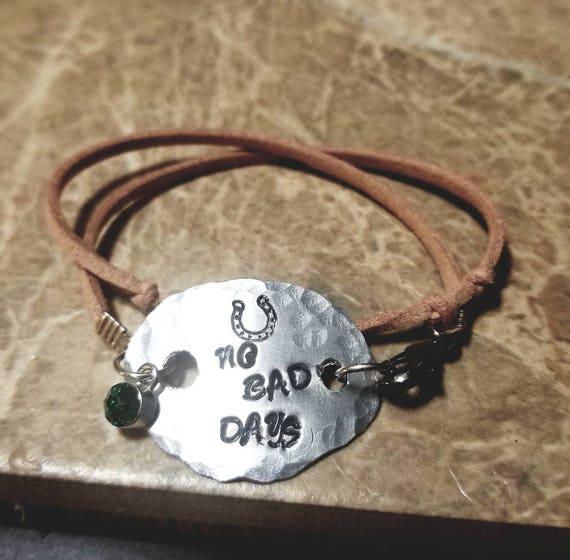 No Bad Days - Stamped Metal Mantra Bracelet