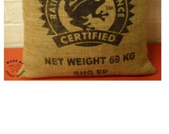 Hessian Recycled Coffee Bean Sack Soft Cushion Pillow Home Decor Kitchen Over locked Edges