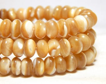 8x5mm Mother of Pearl Beads, MOP Beads, Mother of Pearl Rondelles, Shell Beads, Beach Beads, Rondelle Beads, Beige Beads, Tan Beads,  B-39D