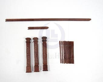 2 Colors Available -Doll House Staircase Wooden Working Hardware  [Finished in walnut / Unfinished]