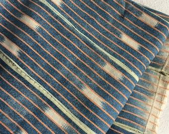 Vintage West African Ivory Coast Baule Cloth Ikat Indigo Stripe BLANKET Cloth Weaving B8A