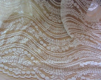 Wave lace fabric in off white, Chantilly Lace,black lace