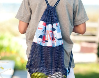 Oh Buoy Mesh Backpack, Monogrammed Backpack, Viv & Lou, Matching Items Available in Other Listings