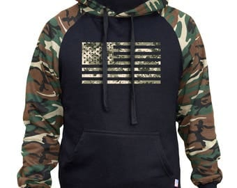 Men's Digital Camo USA Flag Two Tone Hoodie Camo/Black  All size S-3XL