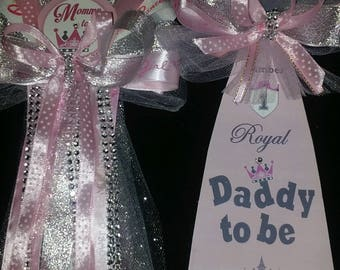 my little princess to be baby shower mommy and daddy corsage and tie set