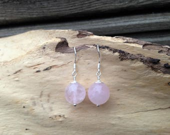 Rose Quartz and Sterling SIlver Earrings Simple Earrings Dangle Earrings Drop Earrings Pink Earrings