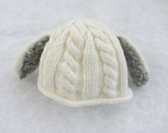 All natural merino baby hat with bunny ears. Size newborn.