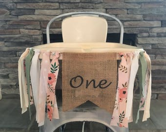 Floral Burlap Banner, Highchair banner, Floral Banner, First Birthday Banner, First Birthday Sign, Floral Birthday Party, Floral Theme