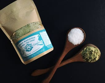 Pure| Undertow: Muscle-Soothing Sea Salt Blend + Atlantic Kelp Powder in 8oz Kraft Resealable Pouch - Nutrient-Rich, Stress Relief, Insomnia