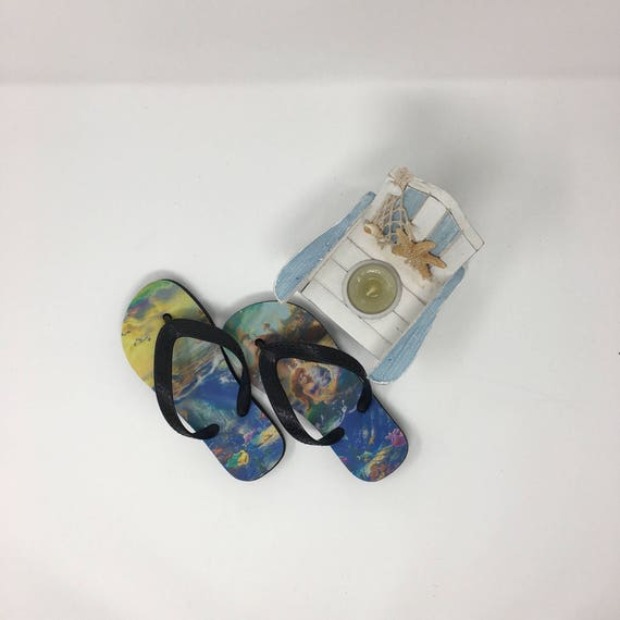 Personalized Kid's Beach Flip flops, Child size Ariel inspired sport flip flops, Customized flip flops, Summer Flip Flops, beach flip flops