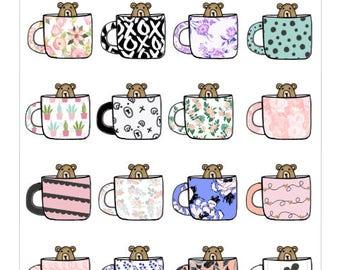 025-Grumpy Bear Loves Coffee-Floral planner sticker sheet