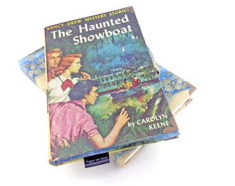 "Nancy Drew wallet, Carolyn Keene, The Haunted Showboat, Nancy Drew mystery, 1957 gift, Vintage book, Book wallet, ""I love Nancy Drew!"""