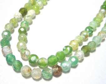 1 Strand Green Natural Fire Agate 4mm Faceted Gemstone Beads Dyed