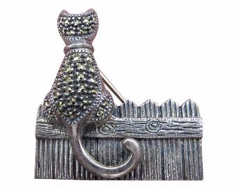 SALE Rare Vintage Judith Jack Sterling Silver Marcasite Cat on Fence Pin Brooch SIGNED 19gms 37x37mm