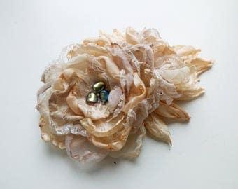 Clip-Brooch Fabric Flower, Wedding Flowers, Peach Beige Rose, Chiffon Wedding Flower, Fabric Rose, Rose Flowers, Wedding Bridal Clip-Brooch