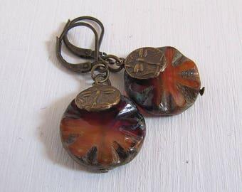 Dragonfly Libellenohrringe mit Glassteinen vintage bronze