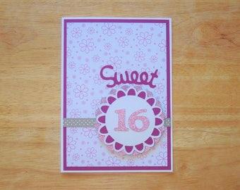 Sweet 16 Birthday Card - Birthday Card - Happy Birthday Card - Birthday Wishes Card - Birthday Greeting Card - Birthday Girl Card