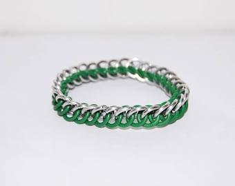 Green and silver Stretch Bracelet / Slytherin