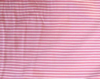 Fabric - cotton/elastane medium weight striped jersey fabric - pink/white - knit fabric.
