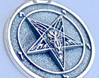 Church of Satan Sigil of Baphomet Lucifer Inuertet Pentagram 666 Satanic Occult Illuminatl gothic Handmade 3D Pendant Sterling Silver 925