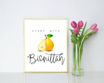 Start with Bismillah. Islamic Kitchen Wall Print.