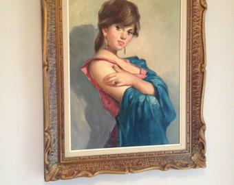 Kitsch / Retro/ Vintage Painting in Gorgeous Frame