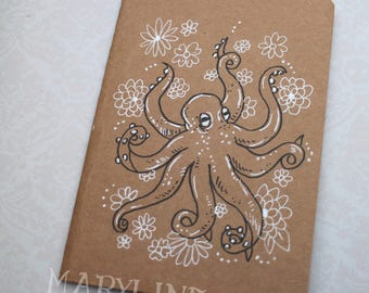 "Sketchbook - Notebook Kraft ""Octopus and flowers"""